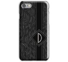 1920s Jazz Deco Swing Monogram black & silver letter D iPhone Case/Skin