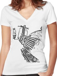 3 Vespa Scooters Women's Fitted V-Neck T-Shirt