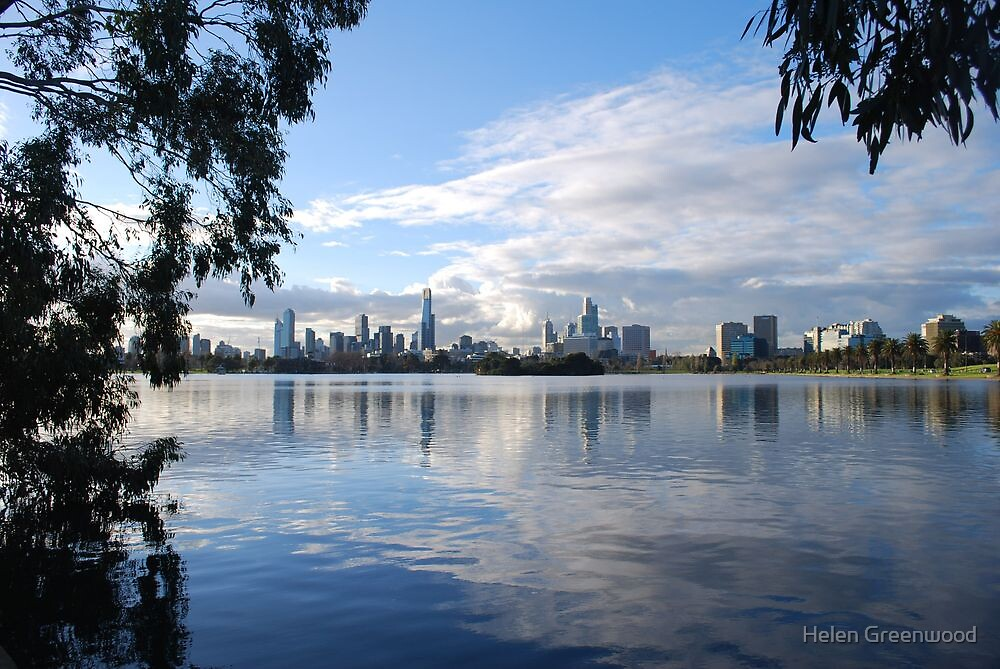 Melbourne Cityscape from Albert Park Lake, Victoria by Helen Greenwood