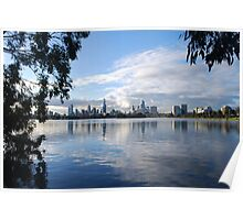 Melbourne Cityscape from Albert Park Lake, Victoria Poster