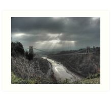November Sunbeams over Clifton Suspension Bridge, Bristol. Art Print