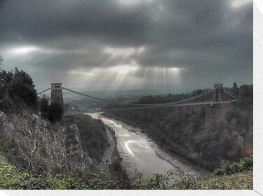 November Sunbeams over Clifton Suspension Bridge, Bristol. by Clive Lewis-Hopkins.