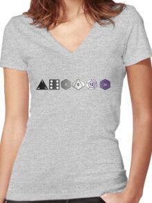 Asexual Pride (Polyhedral Edition) Women's Fitted V-Neck T-Shirt