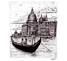 Venice Italy black and white pen ink drawing Photographic Print