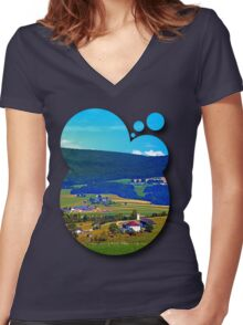 Some boring autumn scenery Women's Fitted V-Neck T-Shirt