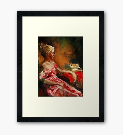 Waiting...oil painting original Framed Print