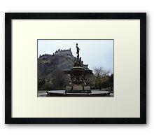 Edinburgh castle and Ross fountain Framed Print