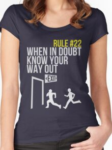 Zombie Survival Guide - Rule #22 - When In Doubt, Know Your Way Out Women's Fitted Scoop T-Shirt