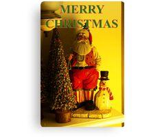santa and snowman christmas card Canvas Print