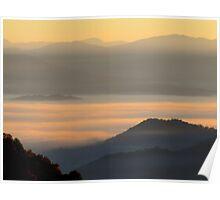 Dawning Sunbeams Fall Across Valley Fog Poster