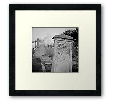 Graveyard in monochrome Framed Print