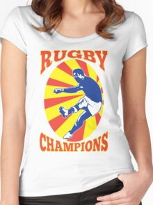 rugby player kicking ball retro style Women's Fitted Scoop T-Shirt