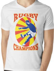 rugby player kicking ball retro style Mens V-Neck T-Shirt