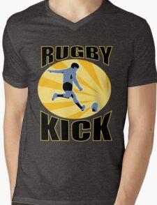 rugby player kicking ball retro style Mens V-Neck T-Shirt