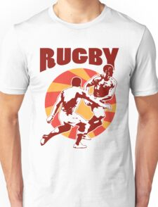 rugby player running passing tackling ball retro style Unisex T-Shirt