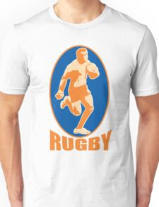 rugby player running passing ball retro style Unisex T-Shirt