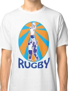 rugby players jumping catching line-out ball retro style Classic T-Shirt
