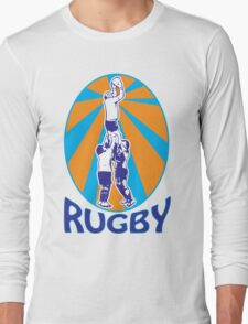 rugby players jumping catching line-out ball retro style Long Sleeve T-Shirt