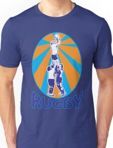 rugby players jumping catching line-out ball retro style Unisex T-Shirt