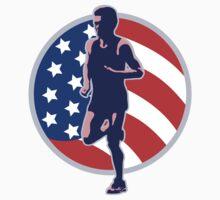 American Marathon runner stars stripes retro style by patrimonio