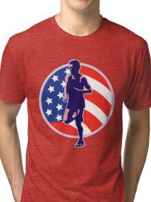 American Marathon runner stars stripes retro style Tri-blend T-Shirt
