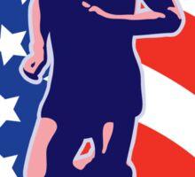 American Marathon runner stars stripes retro style Sticker