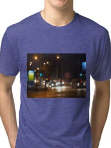 Abstract colored lights from moving vehicles Tri-blend T-Shirt