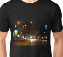Abstract colored lights from moving vehicles Unisex T-Shirt