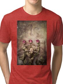 three dried roses and barbed wire Tri-blend T-Shirt