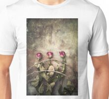 three dried roses and barbed wire Unisex T-Shirt