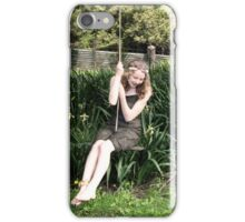 Woodland Woman On A Rope Swing iPhone Case/Skin