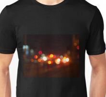 Abstract and blur colored lights of the night city Unisex T-Shirt