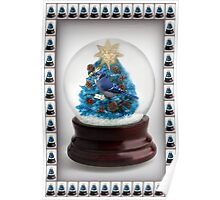 ˚✰˚ ˛★* 。 ˛CHRISTMAS TREE BLUE JAY SNOW GLOBE  ˚✰˚ ˛★* 。 Poster