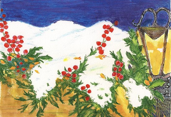 Snow on Holly by Lynda Earley