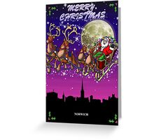 Here comes Santa Claus - Norwich skyline Greeting Card
