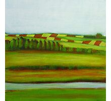 Farming Landscape, mixed media on canvas Photographic Print