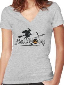 Happy Holloween Women's Fitted V-Neck T-Shirt