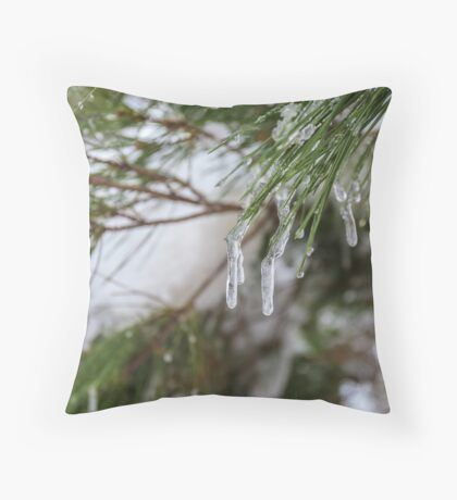 Close-up of pine leaves in snow. Photographed at Odem Forest, Golan Heights, Israel  Throw Pillow