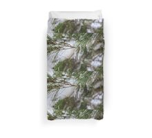 Close-up of pine leaves in snow. Photographed at Odem Forest, Golan Heights, Israel  Duvet Cover