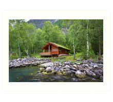 Log Cabin in Skjolden, Norway Art Print