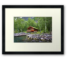 Log Cabin in Skjolden, Norway Framed Print