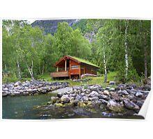 Log Cabin in Skjolden, Norway Poster