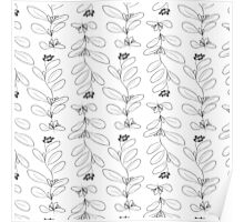 Hand drawn delicate decorative vintage leaves Poster