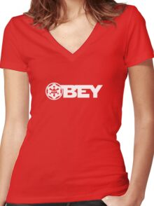 OBEY THE EMPIRE Women's Fitted V-Neck T-Shirt