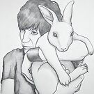 portrait of Noel with a rabbit by HeatherRose