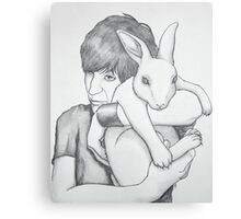 portrait of Noel with a rabbit Canvas Print