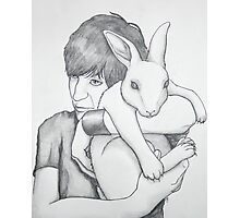portrait of Noel with a rabbit Photographic Print