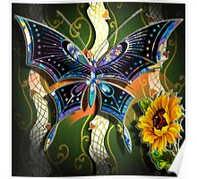 BUTTERFLY WITH SUNFLOWER Poster