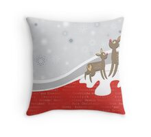 reindeers snow wishes Throw Pillow