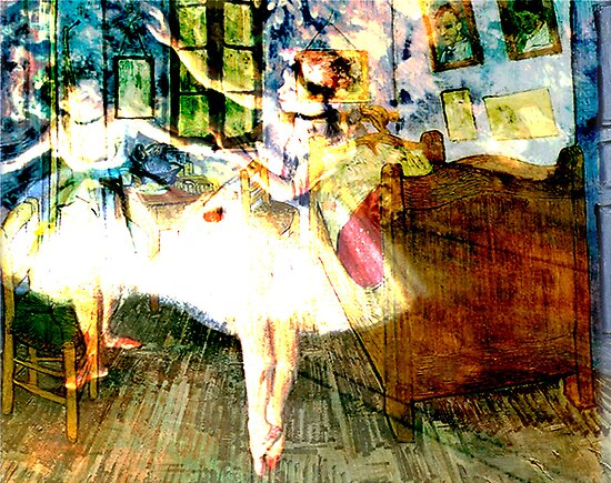 DEGAS DANCER'S HAUNT VAN GOUGH'S ROOM by Tammera